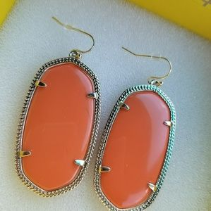 Rare Kendra Scott Orange Danielle Earrings in Gold
